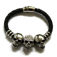 Butler and Wilson 3 Crystal Silver Tone Skull Magnetic Cord Bracelet NEW