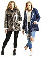 New Womens Metallic Look Gloss Faux Fur Lined Waterproof Rain Mac Parka Coat