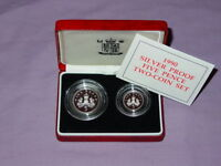 1990 ROYAL MINT SILVER PROOF FIVE PENCE TWO COIN SET