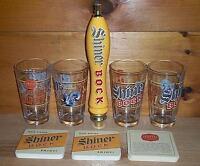SHINER BOCK TAP HANDLE KEG MARKER 4 BEER PINT GLASSES & BAR COASTERS NEW