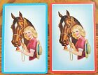 HORSE - LADY - GIRL - VINTAGE PAIR SWAP PLAYING CARDS