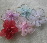 40 Organza Ribbon Flower w/Pearl Appliques/craft/Wedding decoration Lot mix-A695
