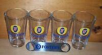 FOSTERS AUSTRALIAN LAGER 4 BEER PINT GLASSES & BOTTLE OPENER NEW