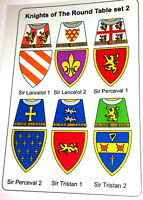 12 Custom stickers knights of the round table set 2 -  lego torso size