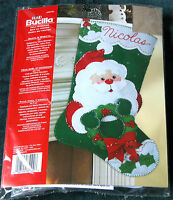 "New Bucilla ""Santa & Wreath"" Jeweled Felt Christmas Stocking Kit"