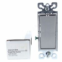 New Cooper Gray ON/OFF Single Pole Decorator Rocker Wall Light Switch 15A 6501GY