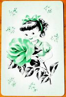 CHILDREN- GIRL WITH ROSE ON GREEN -SINGLE DECO VINTAGE SWAP PLAYING CARD