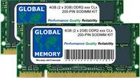 4gb (2x 2GB) Ddr2 533/667/800mhz 200 pines SODIMM