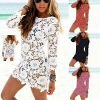 Women Beach Bikini Swimwear Cover Up Floral Lace Crochet Long Sleeve Dress S-XXL