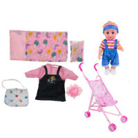 Doll Swiveling Wheels Stroller w Baby Doll Feeder Bag Clothes Toys for Kids