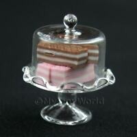 Glass Cake Stand (E) & 4 Wafers Dolls House Food