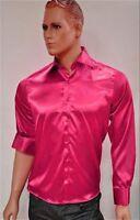 NEU Designer Satin Hemd Slim-Fit Tailliert Pink Gr L