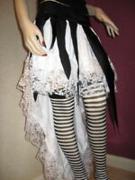 White,Black Lace Fishtail  Petticoat Skirt,Gothic,Rock,