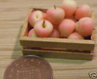 1:12 Scale Crate Of 12 Pink Lady Apples Doll House Miniature Fruit Accessory