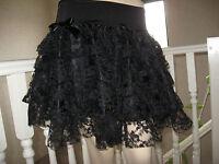 New Gothic Black Lace tiered Rara skirt Lolita Wedding Punk Boho Rock Party