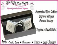 Engraved Square Cufflinks Groom Husband Gift