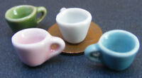 1:12 Scale 2 Ceramic Coffee Cups Dolls House Miniature Kitchen Drink Accessory