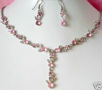 SILVER TONE  PINK  CRYSTAL   NECKLACE AND  EARRINGS