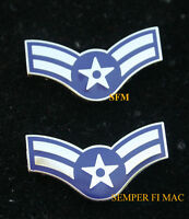2 TWO AIRMAN FIRST 1ST CLASS E-3 US AIR FORCE HAT PIN RANK ENLISTED AFB USAF WOW