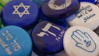 Colored Glass Judaica Hebrew Jewish Imprinted Stones