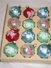 Vintage Christmas Satin Pastel Shiny Brite Glass Mica Stencil Ornaments IOB T11