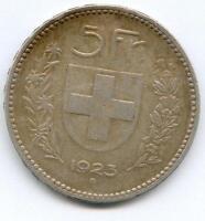 TRES RARE ECU / MONNAIE DE 5 FRANCS SUISSE ARGENT 1923 B @ QUALITE @ RARE A VOIR