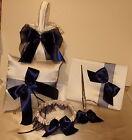 GORGEOUS 5 PIECE  BRIDAL SET,Flower Basket, Ring Pillow, Guest Book, Garter, Pen