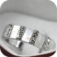18K GOLD GP SHELL MADE WITH SWAROVSKI CRYSTAL WEDDING RING US 6 1/4 UK M 1/2