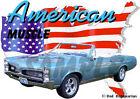 1967 Blue Pontiac GTO Convertible Custom Hot Rod USA T-Shirt 67, Muscle Car Tee