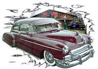 1950 Burgundy Chevy FleetLine Custom Hot Rod Garage T-Shirt 50, Muscle Car Tee's