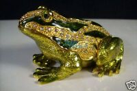 Jewelry Trinket Box Crystal Gold&Green Frog  JF8659_Frog_1