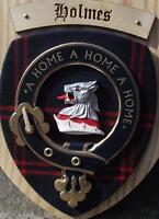 Schottisch Geschenk Holmes Clan Familienwappen Wandtafel ( hölzern )