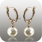 18k rose gold pearl stud huggies dangle wedding bridesmaid bride earrings