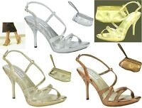NEW Fortuna Prom Shoes Glitter Gold, Silver, Bronze Platform Slingback Sandals