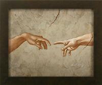 Creation of Adam Hands Repro Michelangelo Finger Roman art FRAMED OIL PAINTING