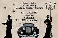 Personalised Gangster and Molls Birthday Party Invitations Fancy Dress Invites