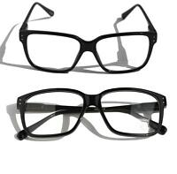 Square Gloss Black Vintage Retro Fashion Frame Clear lens Sun-Glasses Nerd Smart