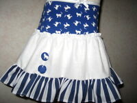 NEW Bllue,White cats,Stripe Frilly Mini Skirt,Punk,Retro,Hippy-All sizes