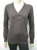 Womens ESPRIT Fine Knit Y Neck Horn Button Jumper Brown Size 10 - 20 Ladies WJ30