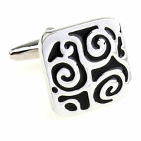 Classic Square Vintage Engraving Men's Wedding Groom Cufflinks Shirt Cuff Links