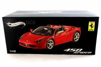 FERRARI 458 SPIDER RED HOT WHEELS ELITE 1/43 DIECAST CAR W1182