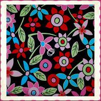 BonEful Fabric FQ Cotton Woven KNIT Black Red Pink Blue L Flower Hippie Tropical
