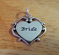 Sterling Silver 17x18mm Fancy Wedding says Bride Heart Charm