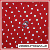 BonEful Fabric FQ Cotton Quilt Red White Small Little Calico Polka Dot Scattered