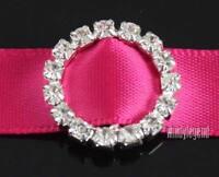 50 Pcs Round Rhinestone Buckle Invitation Ribbon Slider For Wedding Supplies