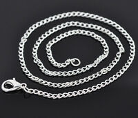 """2 x 18"""" Silver Plated Chain With Clasp 2.5mm Links Findings Jewellery S49"""