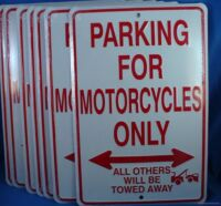 LOT OF 2 PARKING FOR MOTORCYCLES ONLY METAL TIN SIGN Made in USA US Bike Biker.