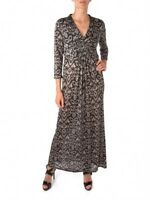 Linea House of Fraser RRP £80 Black & Brown Ikat Print Stretch Jersey Maxi Dress