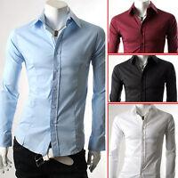 Free Ship~Men Luxury Stylish Casual Long Sleeve Dress Slim Fit Shirt S M L XL