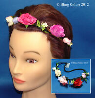 ROSE FESTIVAL FLOWER HEADBAND HEAD HAIR BAND ELASTIC FLORAL CROWN GARLAND HIPPY